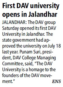 First DAV University opens in Jalanchar (DAV University)