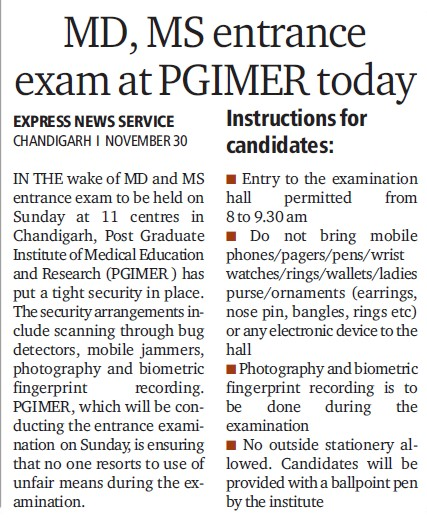 MD MS entrance exam at PGIMER today (Post-Graduate Institute of Medical Education and Research (PGIMER))