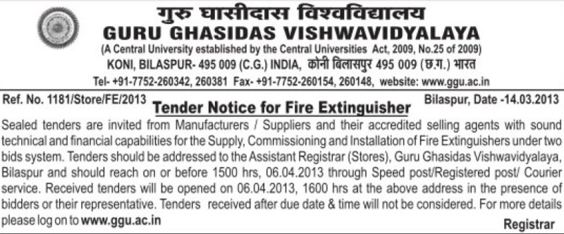 Installation of Fire Entinguisher (Guru Ghasidas University)
