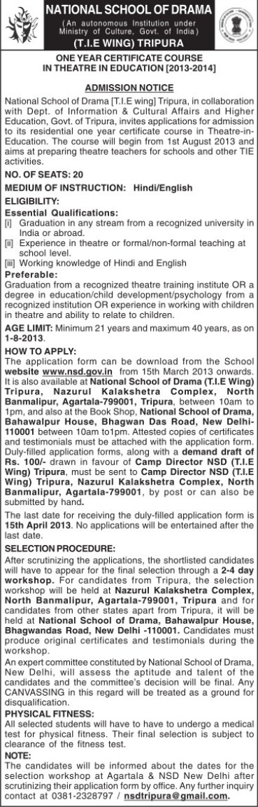 Certificate course in Theatre (National School of Drama)