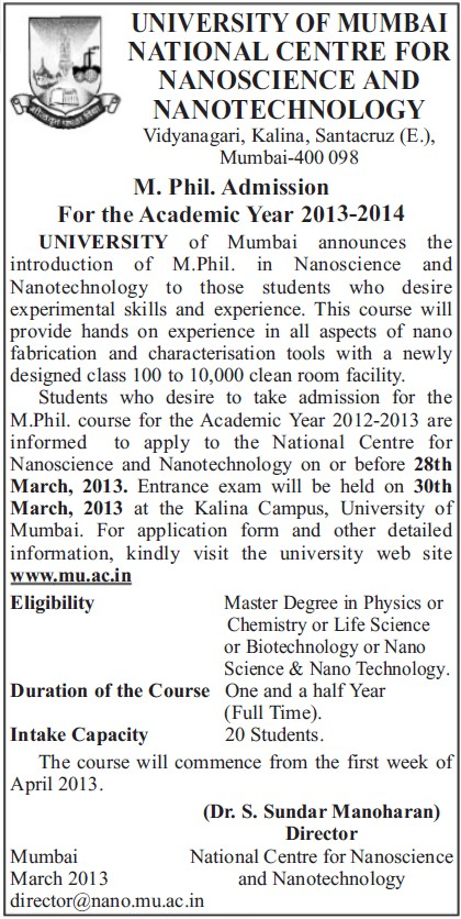 M Phil Course (University of Mumbai (UoM))