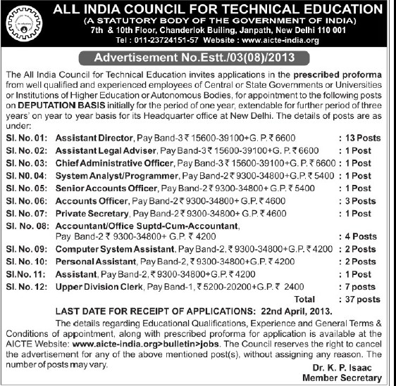 Asstt Director and Accounts Officer (All India Council for Technical Education (AICTE))