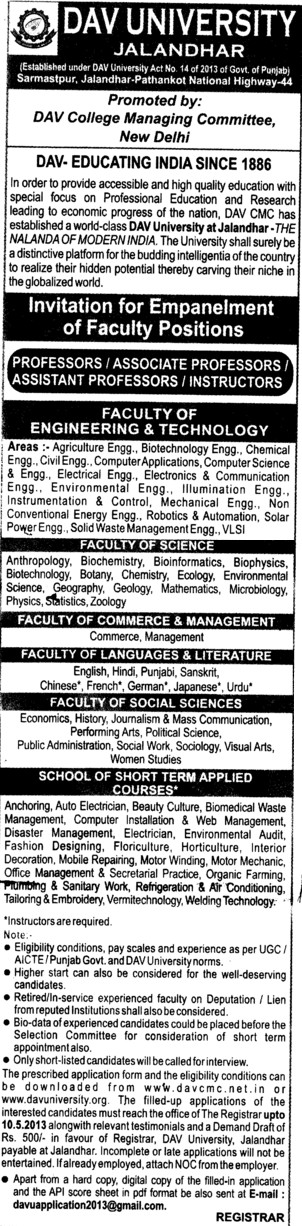 Professor and Instructor (DAV University)