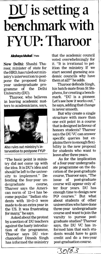 DU is setting a benchmark with FYUP, Tharoor (Delhi University)