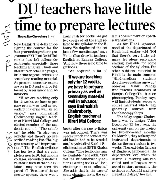 DU teachers have little time to prepare lecturers (Delhi University)