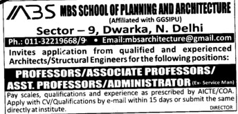 Administrator and Asstt Professor (MBS School of Planning and Architecture)