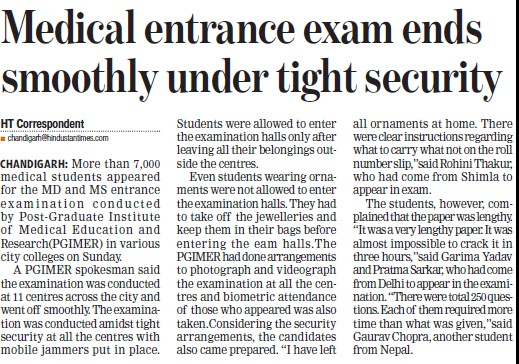 Medical entrance exam ends smoothly under tight security (Post-Graduate Institute of Medical Education and Research (PGIMER))