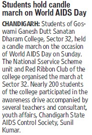 Students holds candle march on World AIDS day (GGDSD College)