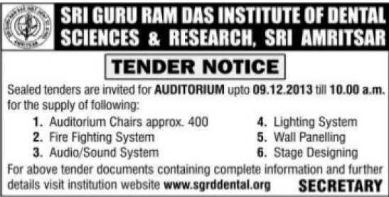 Supply of Sound system and Lighting system (Sri Guru Ram Das Institute of Dental Sciences and Research)
