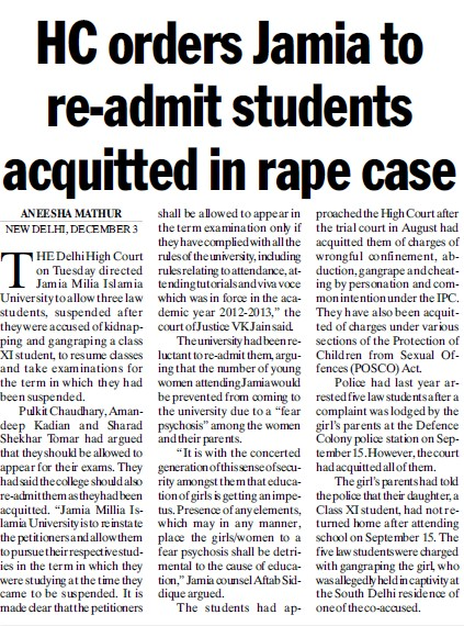 HC orders Jamia to re admit students acquitted in rape case (Jamia Millia Islamia)