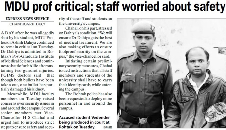 MDU Prof critical, staff worried about safety (Maharshi Dayanand University)