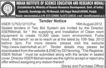 Installation of cleaning room equipments (Indian Institute of Science Education and Research (IISER))