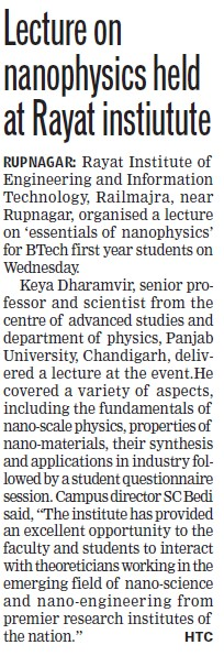 Lecture on nanophysics held (Rayat Institute of Engineering and Information Technology)