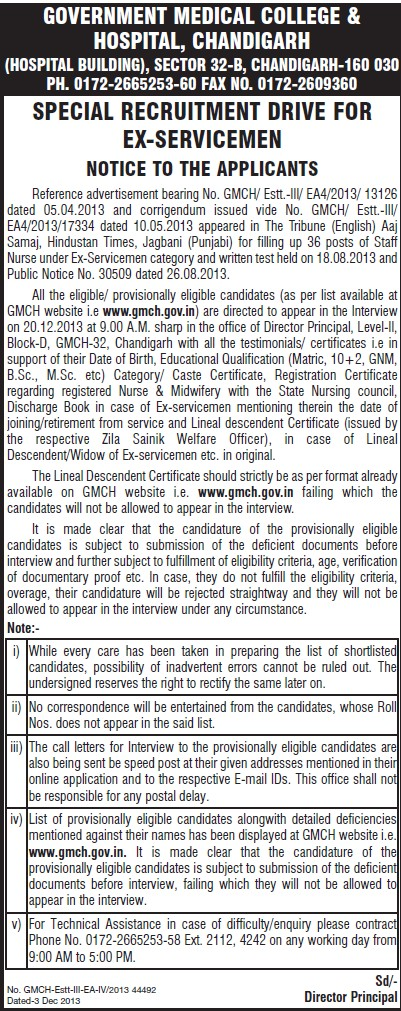 Special recruitment drive for Ex Servicemen (Government Medical College and Hospital (Sector 32))