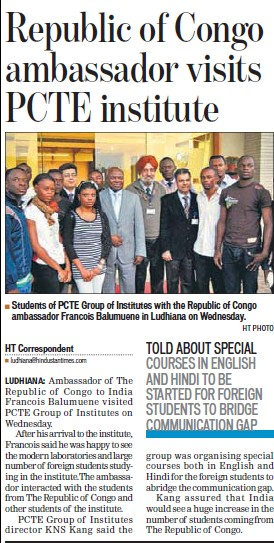 Republic of Congo ambaddador visit PCTE Institute (PCTE Group of Insitutes Baddowal)