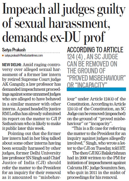 Impeach all judges guilty of sexual harassment demands ex DU prof (Delhi University)