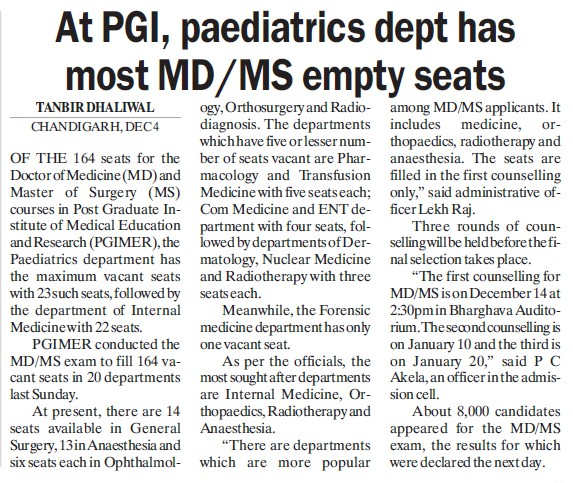 Paediatrics dept has most MD MS empty seats (Post-Graduate Institute of Medical Education and Research (PGIMER))