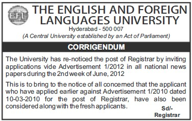 Changes in Registrar post (English and Foreign Languages University)