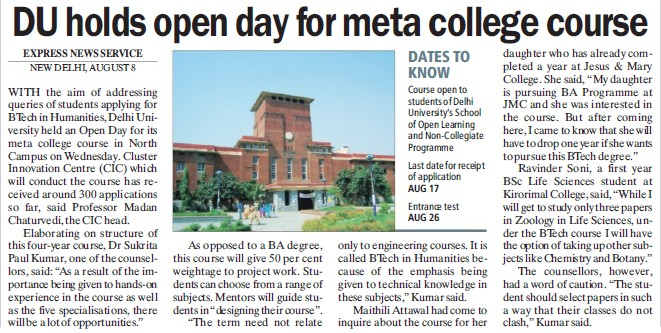 DU holds open day for meta college course (Delhi University)