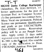 Asstt Professor in Computer science (MGSM Janta College)