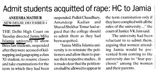 Admit students acquitted of rape, HC to Jamia (Jamia Millia Islamia)