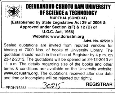Quotation for binding of books (Deenbandhu Chhotu Ram University of Science and Technology)