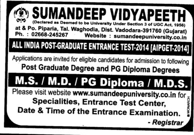 MD and MS course (Sumandeep Vidyapeeth University Piparia)