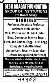Asstt Professor for ECE and CSE (Desh Bhagat Foundation Group of Institute)
