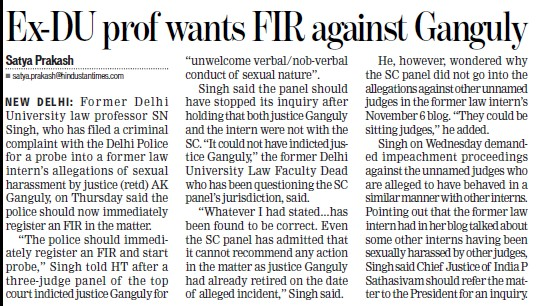 Ex DU prof wants FIR against Ganguly (Delhi University)