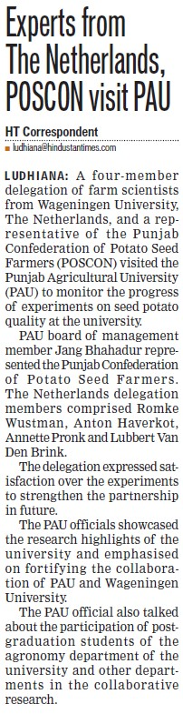 Experts from Netherlands, POSCON visit PAU (Punjab Agricultural University PAU)