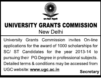 Scholarship for SC ST candidates (University Grants Commission (UGC))
