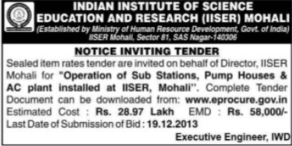 Supply of Pumps (Indian Institute of Science Education and Research (IISER))