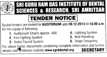 Supply of Fire fighting system (Sri Guru Ram Das Institute of Dental Sciences and Research)