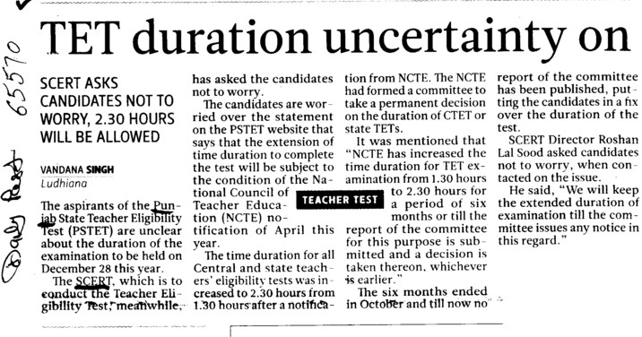 TET duration uncertainty on (SCERT Punjab)