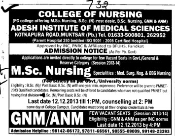 GNM and MSc Nursing course (Adesh Institute of Medical Sciences and Research)