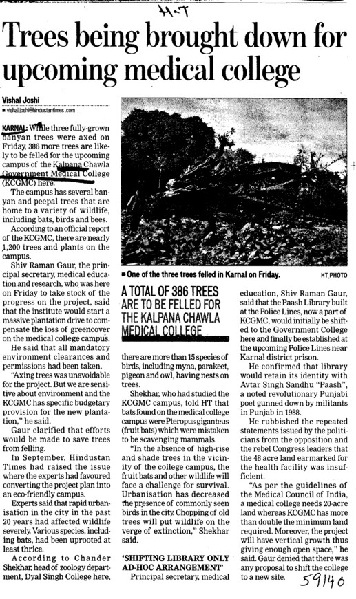 Trees being brought down for upcoming medical college (Kalpana Chawla Medical College)