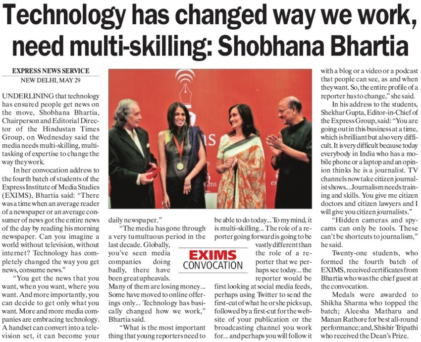 Tech has changed way we work, need multi skilling (Express Institute of Media Studies)