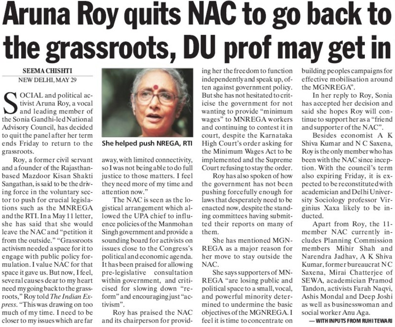 Aruna Roy quits NAC to go back to grassroots (Delhi University)