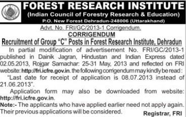 Group C posts (Forest Research Institute)