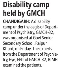 Disability camp held (Government Medical College and Hospital (Sector 32))