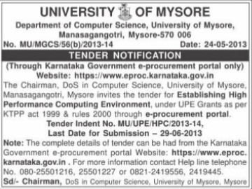 Establishing of high performance computing environment (University of Mysore)