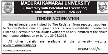 Supply of Professional equipments (Madurai Kamaraj University)