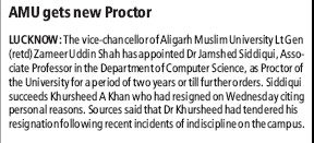 AMU gets new proctor (Aligarh Muslim University (AMU))
