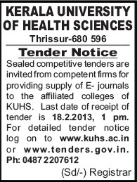 Supply of E Journals (Kerala University of Health and Allied Sciences)