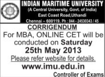 MBA admission (Indian Maritime University)