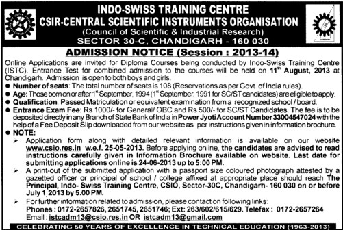ISTC Entrance Test (Indo Swiss Training Centre Central Scientific Instruments Organisation)