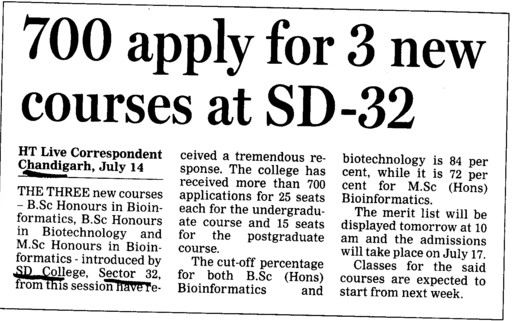 700 apply for 3 new courses (GGDSD College)