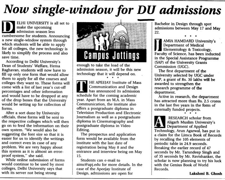 Now single window for DU admissions (Delhi University)