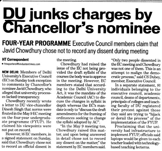Du junks charges by chancellors nominee (Delhi University)