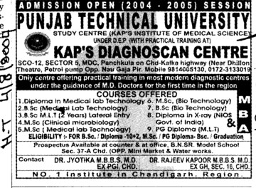 MSc in Clinical Microbiology (Punjab Technical University PTU)